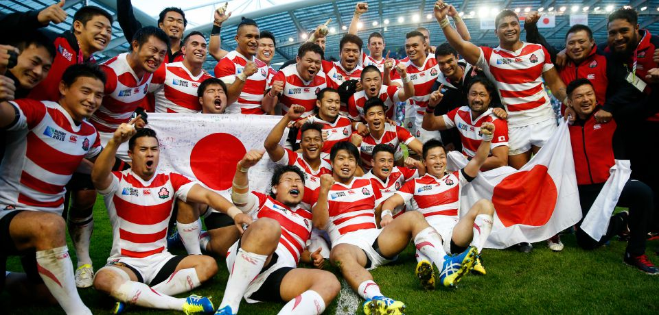 Joie des Japonais Japan celebrate victory after the match